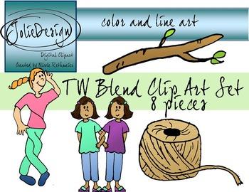 TW Blend Phonics Clip Art Set - Color and Line Art 8 pc set