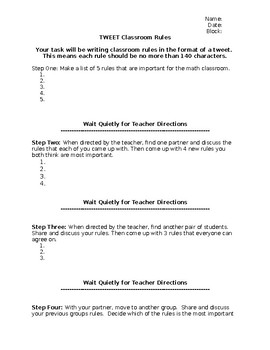 TWEET Classroom Rules