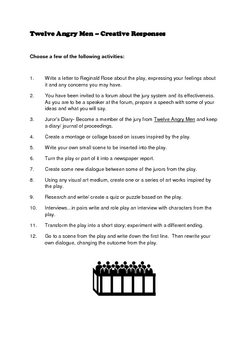 TWELVE ANGRY MEN (ROSE) THEMES WORKSHEETS