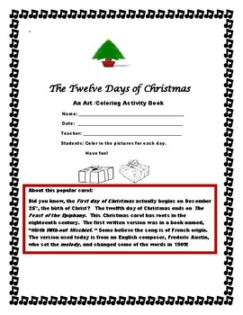 TWELVE DAYS OF CHRISTMAS COLORING BOOK