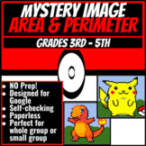 TWO Area and Perimeter Mystery Image Google Sheets - Pokemon Themed
