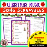 Christmas Music Activities: Christmas Music Worksheets:  Song Scrambles