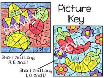 TWO Cinco de Mayo Mystery Pictures ~ Short and Long Vowel Sounds