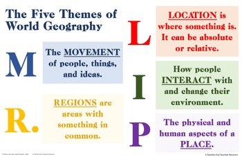 TWO Colorful Five Themes of Geography Posters (MR LIP) - 11 x 17