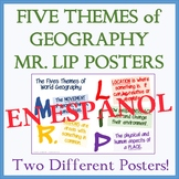 TWO Colorful Five Themes of Geography Posters (MR LIP) - 11 x 17 - SPANISH