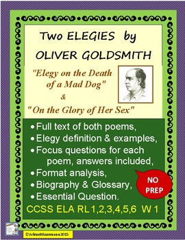 ELEGIES by OLIVER GOLDSMITH - Lessons, with Text Included