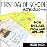 First Day of School Activities for Middle School-Google Slides and Printable!
