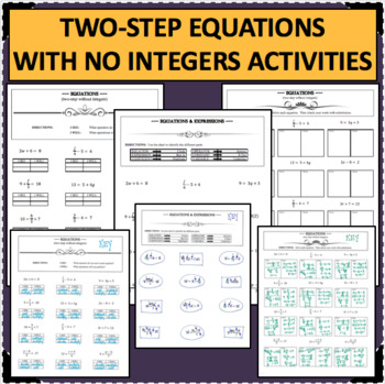 TWO STEP EQUATIONS Algebra Without Integers Differentiated Activities