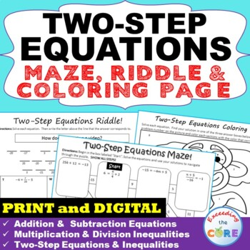 TWO-STEP EQUATIONS Maze, Riddle & Color by Number (Fun MATH Activities)