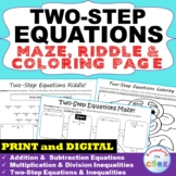 TWO-STEP EQUATIONS Maze, Riddle & Color by Number Coloring Page Activity