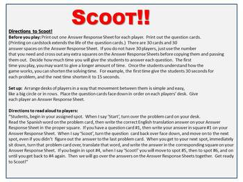 TWO Scoot Games!  Spanish to English -er, -ir, -ar Verbs  *NO CONJUGATION*