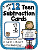 TWO Sets of 12 Teen Subtraction Cards ~ Sports Themed