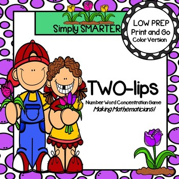 TWO-lips:  LOW PREP Spring Themed Number Word Card Game FREEBIE