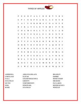 TYPES OF APPLES - AN AUTUMNAL WORD SEARCH