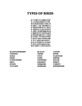 TYPES OF BIRDS WORD SEARCH