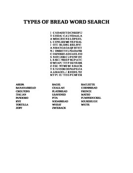 TYPES OF BREAD WORD SEARCH