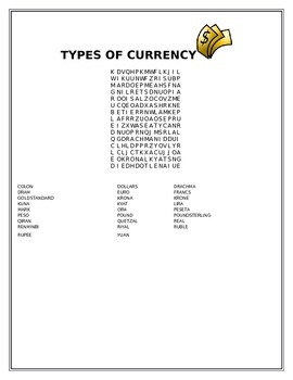 TYPES OF CURRENCY WORD SEARCH