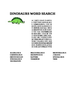 TYPES OF DINOSAURS WORD SEARCH