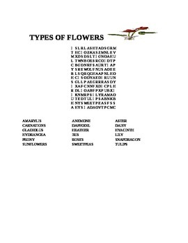 TYPES OF FLOWERS WORD SEARCH
