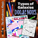 TYPES OF GALAXIES SCIENCE DOODLE NOTES, INB, ANCHOR CHART, AND QUIZ!