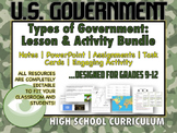 TYPES OF GOVERNMENT: Lesson, Notes and Activities for High School Students