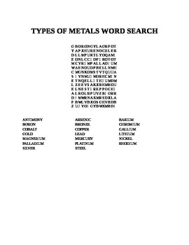 TYPES OF METALS WORD SEARCH