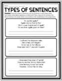 TYPES OF SENTENCES ACTIVITY WORKSHEET STATEMENTS QUESTIONS EXCLAMATIONS COMMANDS