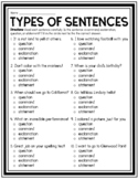 TYPES OF SENTENCES QUIZ WORKSHEET ACTIVITY STATEMENTS QUES