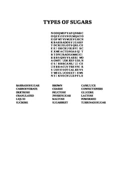 TYPES OF SUGARS WORD SEARCH