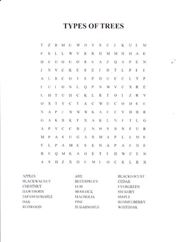 TYPES OF TREES WORD SEARCH