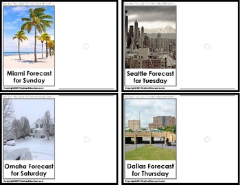 """TYPES OF WEATHER Forecast Task Cards """"Task Box Filler"""" for Autism"""