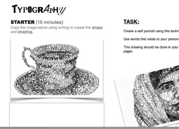 TYPOGRAPHY portrait lesson resource sheet