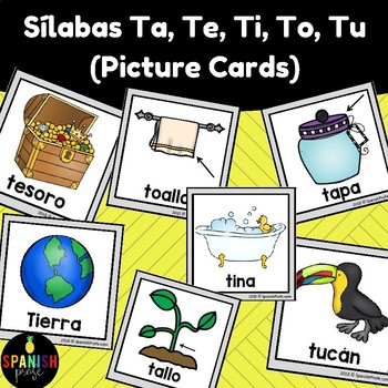 Ta, Te, Ti, Tu, To Picture Cards in Spanish (tarjetas con fotos)