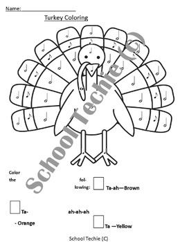 Ta Ti Ti Turkey - Thanksgiving Rhythm Coloring
