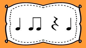 Ta, Ti Ti, and Quarter Rest Rhythm Flash Cards