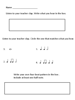 Whole Note and Half Note Assessment
