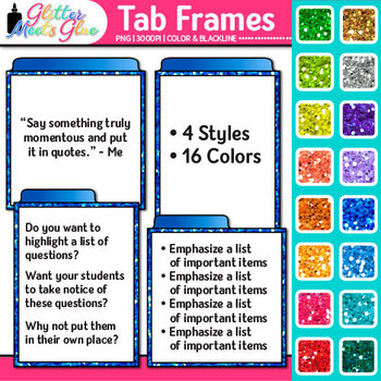 Tab Frames Clip Art {Labels to Organize Bulleted Page Content on Worksheets}