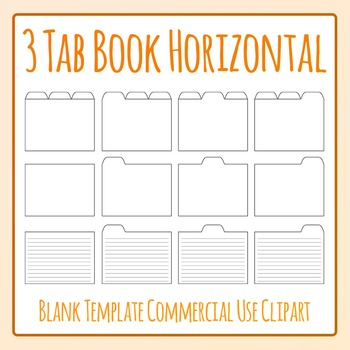 Tabbed Book / File Folder / Subject Notebook 3 Tab Clip Art Set Commercial Use