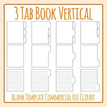 Tabbed Book / File Folder / Subject Notebook 3 V Tab Clip Art Set Commercial Use