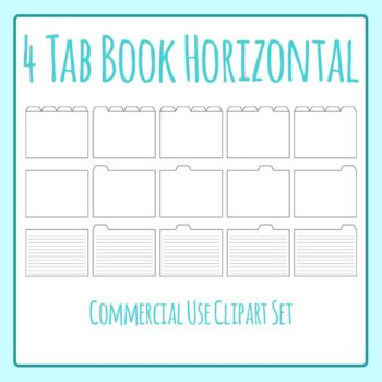 Tabbed Book / File Folder / Subject Notebook 4 Tab Clip Art Set Commercial Use