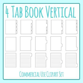 Tabbed Book / File Folder / Subject Notebook 4 V Tab Clip Art Set Commercial Use