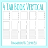 Tabbed Book / File Folder / Subject Notebook 4 V Tab Clip Art Set Commercial Use