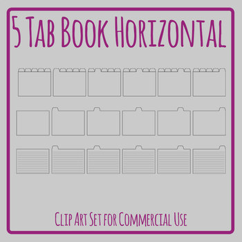 Tabbed Book / File Folder / Subject Notebook 5 Tab Clip Art Set Commercial Use