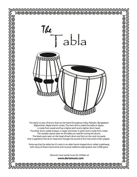 Tabla Drums Free Coloring Page