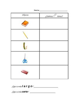 Tabla de medidas para los estudiantes bilingües