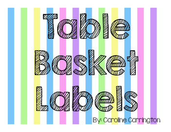 Table Basket Labels