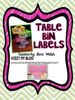 Table Bin Numbers