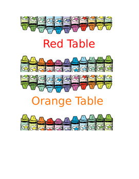 Table Caddy Labels