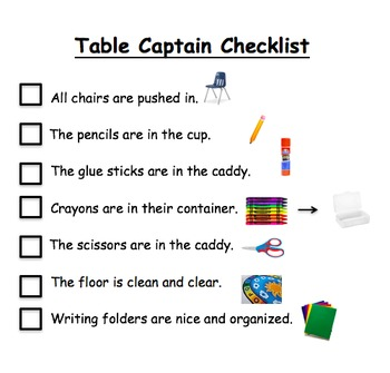 Table Captain Checklist - editable