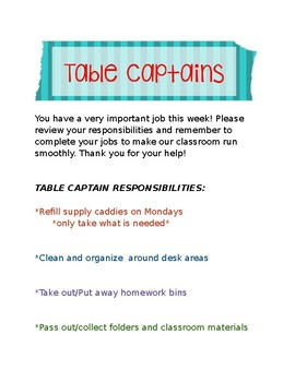 Table Captain Job Description